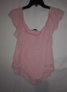 Ambiance Tops - Ambiance Pink Peasant Crop 3X Plus